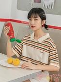 女短袖寬松polo衫彩色條紋t恤可愛半截袖【聚可愛】
