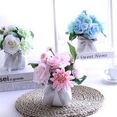 仿真塑料假花套裝飾品絹花盆栽