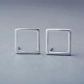 耳環 925純銀-簡約方形生日情人節禮物女飾品73gk186【時尚巴黎】