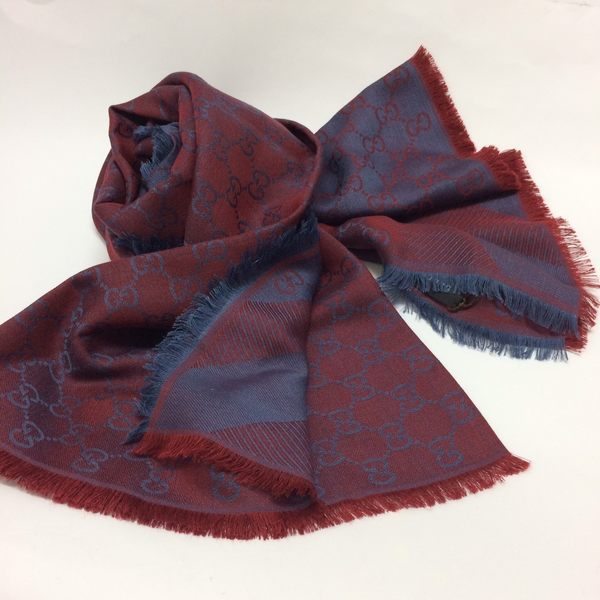 GUCCI全新真品 雙G緹花雙色 方巾/圍巾/披肩 (暗紅色/ 藍色 ) ~現貨特價