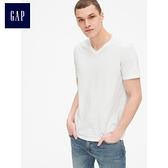Gap男裝 簡約純色V領短袖T恤 440768-白色