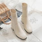 時尚短靴 秋冬新款韓版方頭中跟粗跟高跟短靴女踝靴瘦瘦靴子中筒靴 快速出貨