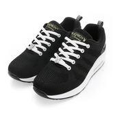 PLAYBOY 簡約生活 針織綁帶氣墊休閒鞋-黑白