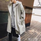 男士中長款韓版帥氣寬鬆連帽夾克外套秋季風衣潮男秋裝休閒大衣 青山市集
