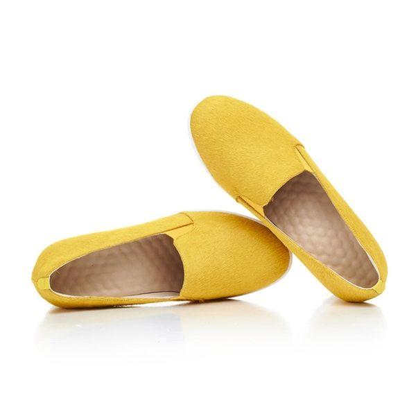 2017春季單鞋馬毛單鞋女真皮增高鞋坡跟一腳蹬懶人鞋內增高鞋子  -10924912001