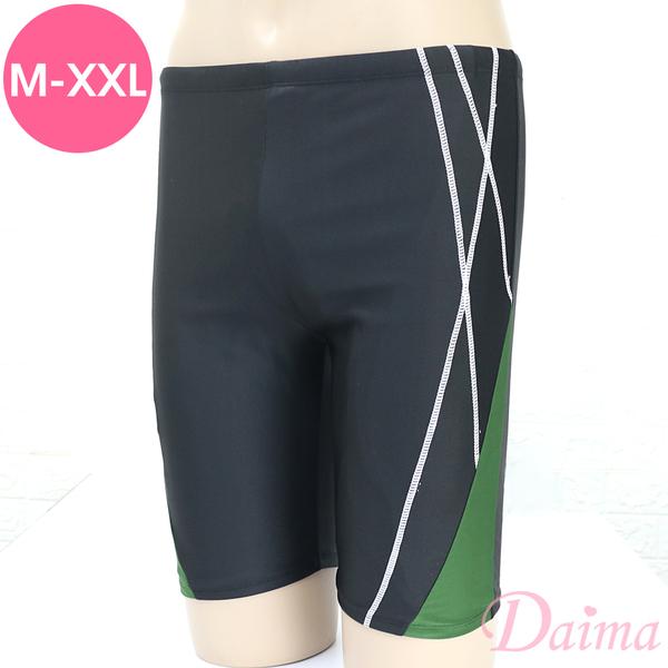 黛瑪Daima 加大尺碼 率性簡單流線舒適彈性男生泳褲_綠(附泳帽)BK190004