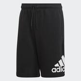 ADIDAS 短褲 棉褲 M MH BOS SHORT FT 黑白 側邊大LOGO 拉繩 男 (布魯克林) DX7662