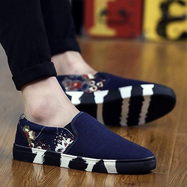 韓版潮流男士帆布鞋夏季潮鞋豆豆男鞋子一腳蹬懶人休閒布鞋【叢林之家】