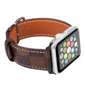 適用apple watch手表帶適用蘋果真皮表帶iwatch方格紋時尚表【韓衣舍】