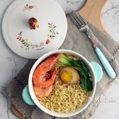 泡麵碗泡面碗帶蓋陶瓷大號方便面碗韓式可愛卡通家用雙柄湯碗大碗吃面碗