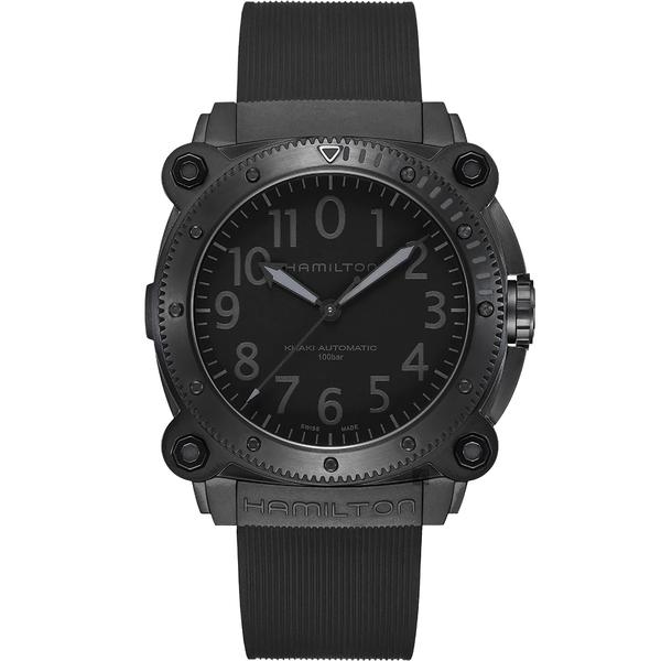 【送原廠鱷魚皮錶帶】天能 電影曝光款 Hamilton 卡其海軍鈦金屬1000米潛水機械腕錶-46mm H78505330