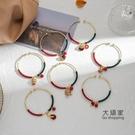 開運手鍊 新年中國風復古繞線開口圈手鐲本命年紅繩開運微鑲合金吊墜手鍊 交換禮物