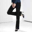西裝褲--日韓OL指定基本款黑色包釦中腰直統西裝褲(黑.咖S-7L)-P09眼圈熊中大尺碼