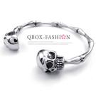 《 QBOX 》FASHION 飾品【W10022866】 精緻個性節扣骷顱頭316L鈦鋼手鍊/手環