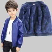 童裝男童加絨皮衣外套冬兒童加厚夾克外衣男寶寶秋冬季保暖上衣-ifashion
