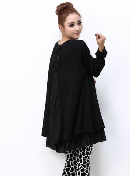 漂亮小媽咪 坑條洋裝 【D5220】 長袖 假兩件 拼接 雪紡 傘狀洋裝 寬鬆 孕婦裝 孕婦洋裝