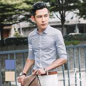 男 窄版/七分袖襯衫 L AME CHIC 英倫線條感混棉修身七分袖襯衫【DTSS060804】