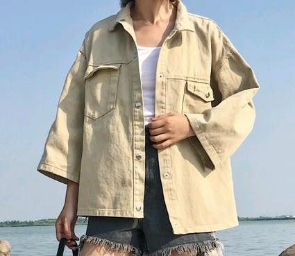 EASON SHOP(GU3768)軍綠色淺色系牛仔外套鐵壓扣七分袖夾克女上衣素色秋冬裝韓寬鬆糖果色水洗斜垮肩