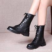 秋季新款女式靴子交叉繫帶圓頭平跟純色歐美英倫風中筒馬丁靴  居家物語