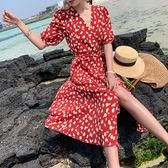 女神度假洋裝~夏日法式復古海邊渡假裙V領開衩一片式裹身連身裙PF460-A快時尚