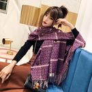 圍巾-仿羊絨彩色格紋兩用溫暖女披肩5色7...