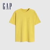 Gap男童 厚磅密織系列碳素軟磨 純棉短袖T恤 755463-黃色