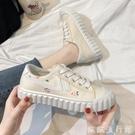 小白鞋 餅干帆布鞋女2021年流行鞋子韓版學生百搭小白鞋夏季新款透氣板鞋 歐歐