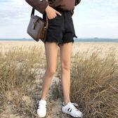 春夏磨破毛邊牛仔短褲女正韓百搭高腰寬鬆顯瘦闊腿熱褲學生潮 雙11搶先夠