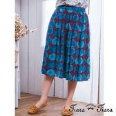 【Tiara Tiara】激安 水彩風大圓點鬆緊腰半身裙(紫底/橘底)