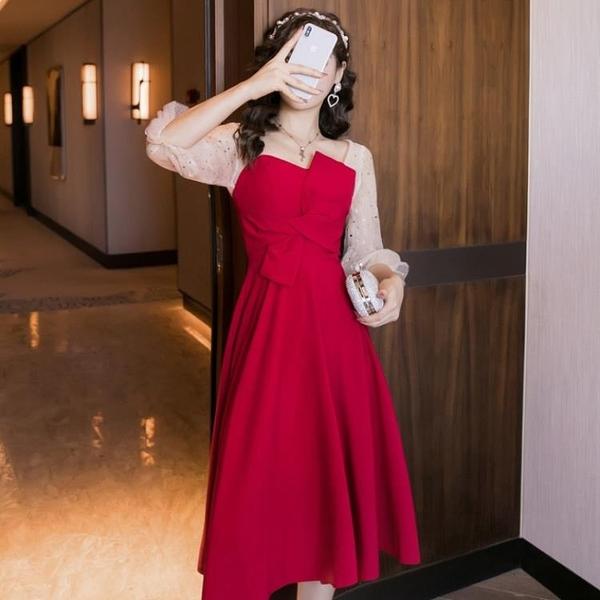 禮服秋裝新款輕奢氣質洋氣酒紅色晚禮服女顯瘦不規則連衣裙中長裙 優拓
