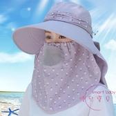 遮陽帽 防曬帽子女夏季面罩遮臉太陽帽大沿百搭涼帽采茶騎車遮陽帽【降價兩天】