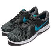 Nike 慢跑鞋 Revolution 4 灰 藍 白底 低筒 路跑 運動鞋 男鞋【PUMP306】 908988-003