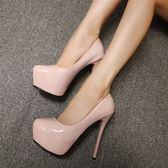超高跟15cm單鞋夜店性感細跟女鞋防水臺魚嘴淺口鞋春季新款高跟鞋