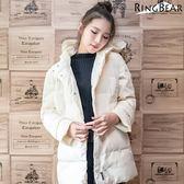 羽絨大衣--俐落保暖禦寒防風立領連帽徽章雙口袋羽絨外套(白.黑L-4L)-J299眼圈熊中大尺碼◎