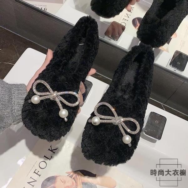 豆豆鞋女蝴蝶結棉瓢鞋毛毛鞋單鞋時尚保暖秋冬百搭【時尚大衣櫥】