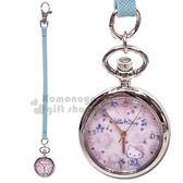 〔小禮堂〕Hello Kitty 皮質懷錶吊飾《藍.玫瑰》腕錶.掛飾.手錶 4582339-27708