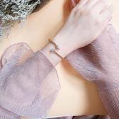 銀飾手鐲 愛心鋯石開口彈性可調節手鐲 巴黎春天