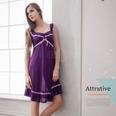 大尺碼睡衣 ~Annabery荷葉肩帶紫色浪漫柔緞 緞面睡衣 《SV6184》HappyLife