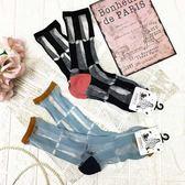 【KP】韓國 22-26cm 長格紋 撞色 透膚 黑 藍 成人襪 襪子 DTT10000699