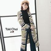 東京著衣-粗針織橫條紋長外套(6025215)