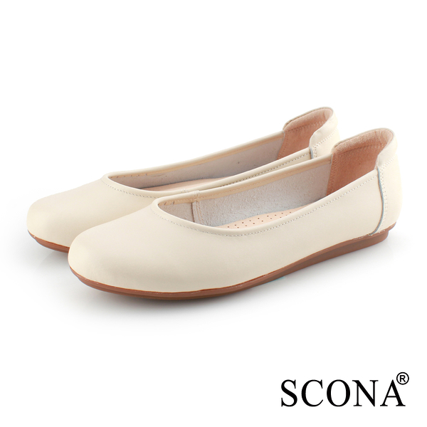 SCONA 蘇格南 全真皮 舒適百搭通勤娃娃鞋 米色 31077-2