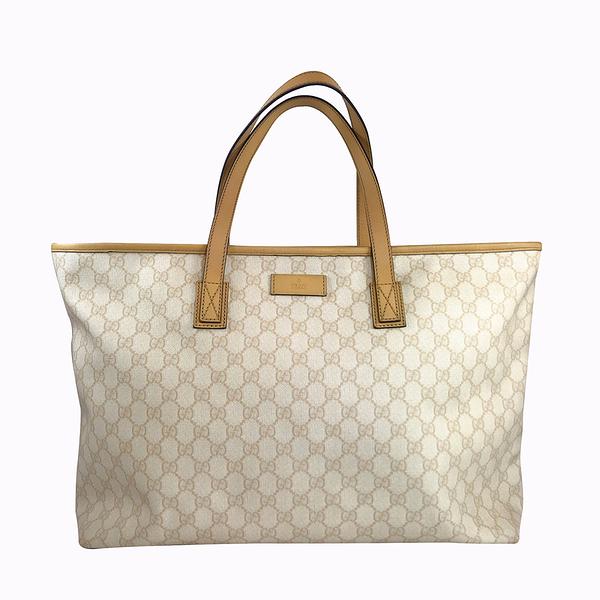 【雪曼國際精品】 GUCCI 211120 經典雙G PLUS 米黃色PVC購物包/托特包~二手商品(8.8成新)