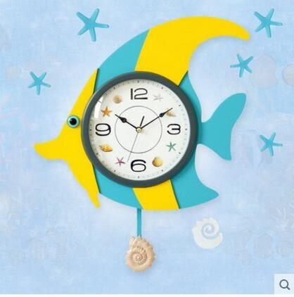 凱樂絲魚型木質掛鐘客廳臥室現代藝術掛錶卡通創意時尚時鐘擺鐘