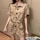 工裝連身短褲女夏季2020新款高腰氣質顯瘦寬鬆套裝連衣褲子百搭潮 中秋節全館免運