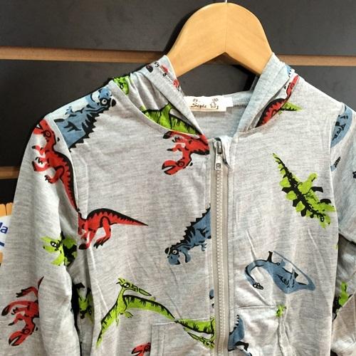 ☆棒棒糖童裝☆男童灰色滿版恐龍連帽拉鏈薄外套  5-17