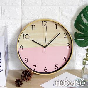 TROMSO紐約時代靜音時鐘木質粉紅