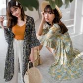 MIUSTAR 多花色!荷葉袖輕柔雪紡印花罩衫(共5色)【NJ0873】預購
