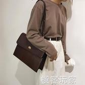 單肩大包包女新款時尚復古鱷魚紋手提小方包ins大容量公文包 極客玩家