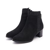 MICHELLE PARK 時尚優雅美型貼鑽拉鍊粗中跟短靴-黑