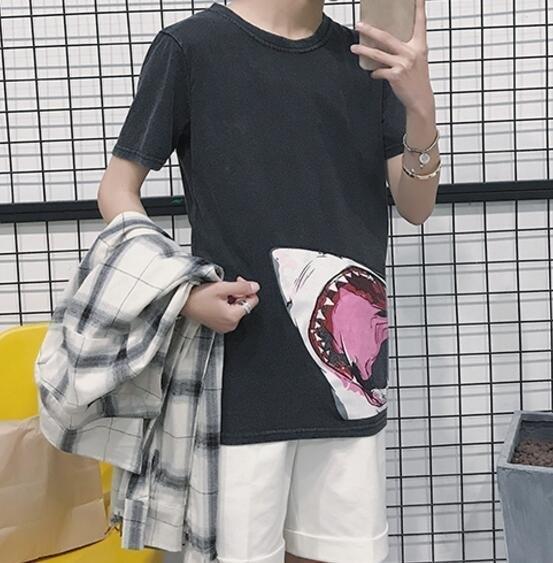 FINDSENSE MD 時尚 男 潮 休閒 圓領 鯊魚印花 短袖T恤 特色短T